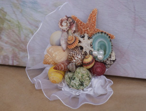 seashell corsage samples for prom spring dance beach