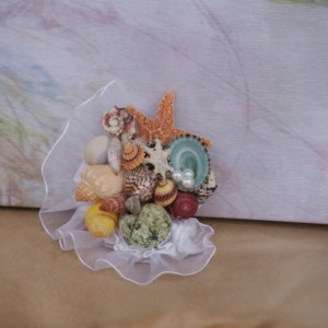 Womens Corsage/ Mothers Seashell Wedding Corsage Sample
