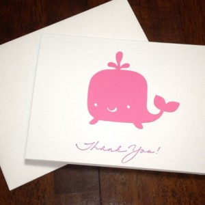 Whale Baby Shower Thank You Note Card Set, Handmade in Pink, Pink Whale Baby Shower Cards, Whale Cards, Whale Birthday Thank You
