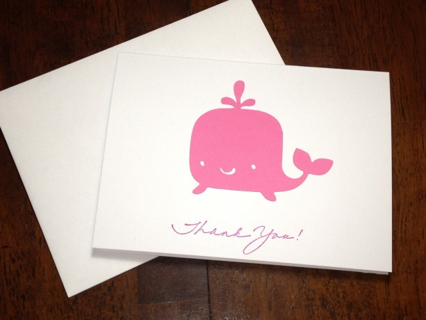 Whale Baby Shower Thank You Note Card Set, Handmade In Pink, Pink