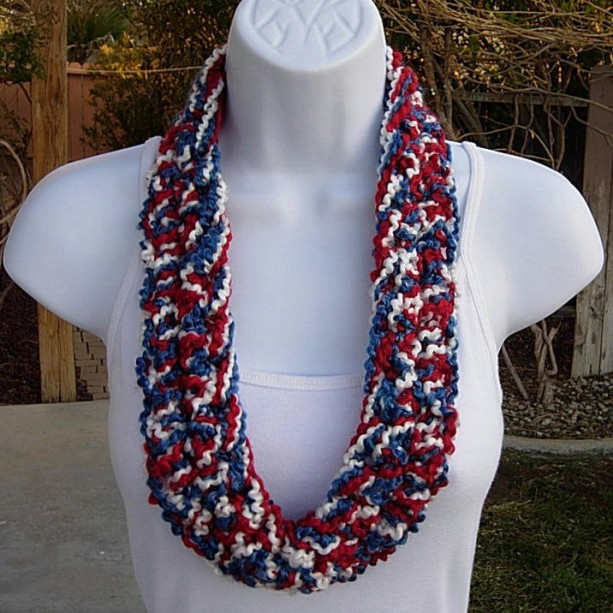 Red White And Blue Summer Scarf Infinity Loop 4th Of July