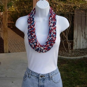Red White and Blue SUMMER SCARF Infinity Loop, 4th of July, Fourth of July, Patriotic American, Soft Small Skinny Lightweight Circle Cowl Crochet Necklace..Ready to Ship in 2 Days