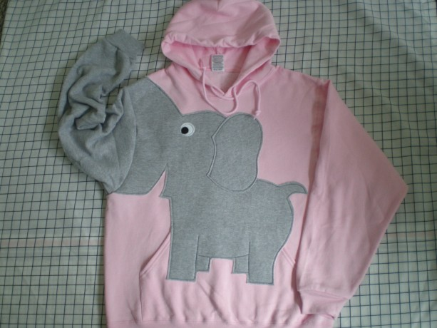 Elephant sweater, elephant sweatshirt, elephant trunk sleeve hoodie pale pink size xlarge