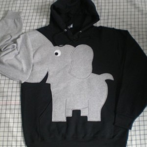 Elephant HOODIE, elephant shirt, hooded elephant sweatshirt with trunk sleeve. Black UNISEX adult LARGE, black hooded sweatshirt