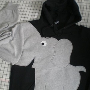Elephant trunk sleeve HOODIE, Black, UNISEX adult size SMALL