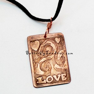 OOAK Abstract Etched Copper Triskele Love Pendant Necklace - Triskelion Collection