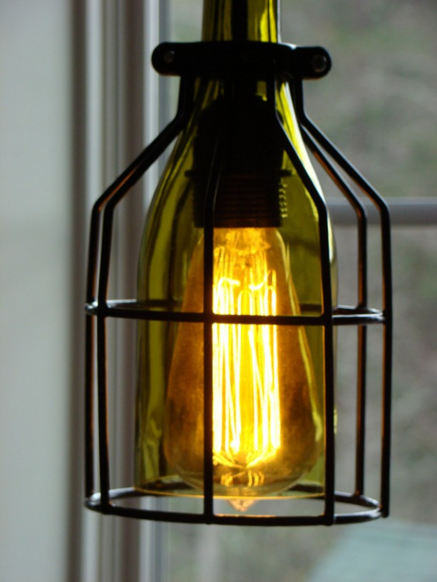 Cage Wine Bottle Pendant Light - aftcra