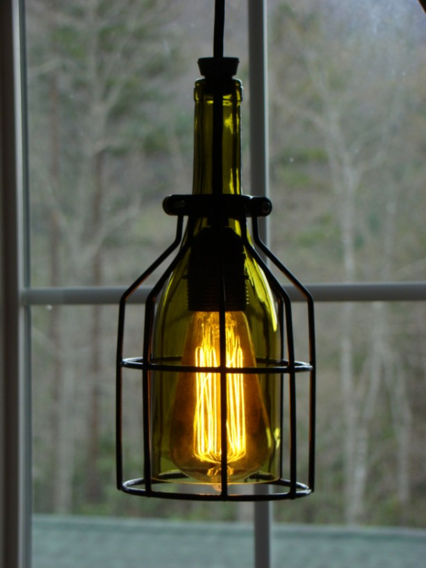 Cage wine bottle pendant light aftcra - Wine bottle pendant light ...