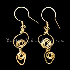Handmade Brass Tendril Earrings - Tendrils of the Vine Collection