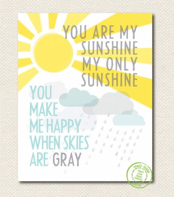8x10 You Are My Sunshine You Make Me Happy When Skies Are