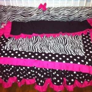 Zebra and pink crib set- 4 piece set- custom made