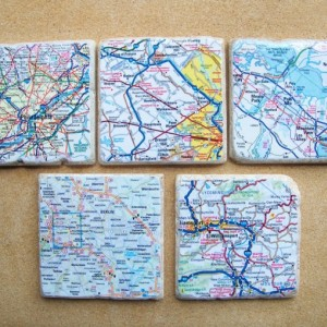 Custom Map Coasters - Set Of 5