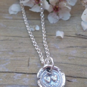 "Antique Insignia / Fine Silver Pendant - ""Forever"" (Two Hearts Intertwined above)"