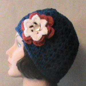 Women's Crochet Beanie With Flowers