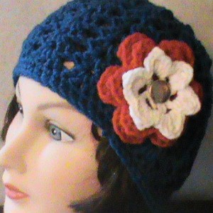 Women's Crochet Beanie With Flowers