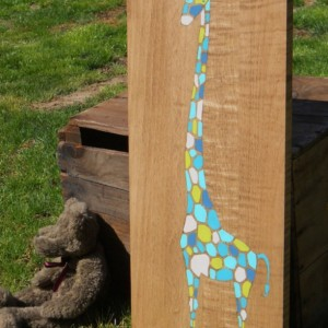 Wood Wall Art - Giraffe Nursery Art - Giraffe Nursery Decor - Kids Giraffe Art - Jungle Animals Art - Art on Wood - Long Neck Giraffe Art