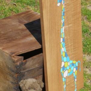 Wood Wall Art - Giraffe Nursery Art - Giraffe Nursery Decor - Kids Giraffe Art - Jungle Animals Art - Art on Wood - Long Neck Giraffe Art