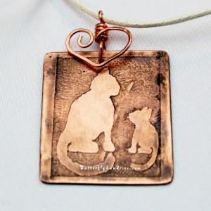 OOAK Etched Copper Cat Parent Pendant - Fur Babies Collection