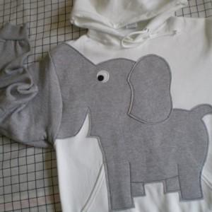 Elephant sweater, elephant sweatshirt, elephant trunk sleeve HOODIE White UNISEX Large