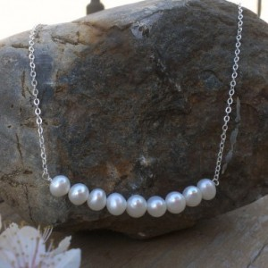Dainty Pearl Necklace - 9 White Freshwater Pearls on Sterling Chain