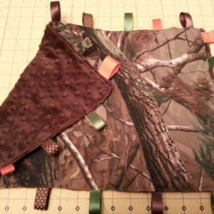 Camo Tag blanket -***EMBROIDERED*** custom made- You choose accent color and accent fabric