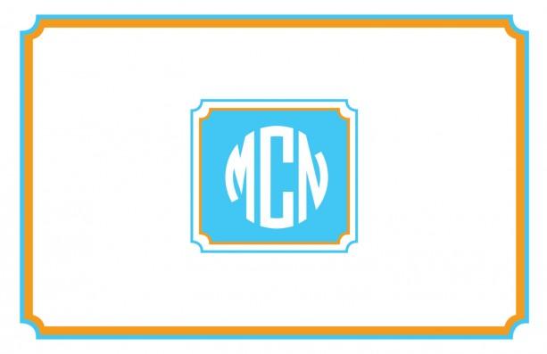 Modern, custom monogrammed placemats