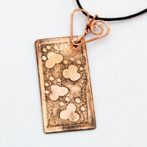 OOAK Etched Copper Pawprints Choker - Fur Babies Collection