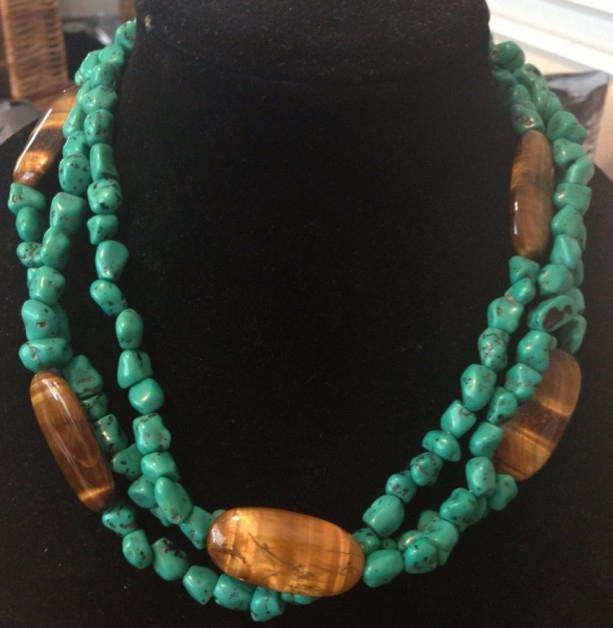 Turquoise necklace with Tigers Eye- handmade chunky multistrand turquoise necklace with real tigers eye stones