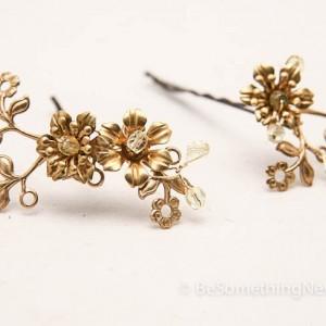 Brass and Gold Flower Hair Accessories, Vintage Fower Bobbie Pins