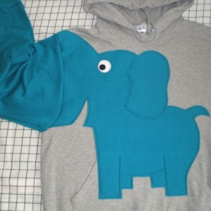 Elephant trunk sleeve HOODIE. Grey and Teal. UNISEX Medium