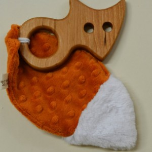 Cherry Wood Fox Teether with Fabric Crinkle Tail