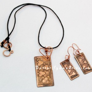 Etched Copper Pawprint Choker and Earrings with Handmade Heart Connections- Fur Babies Collection