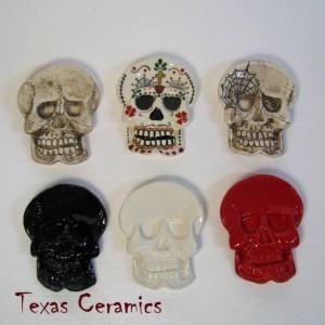 Ceramic Red Skull Tea Bag Holder  Small Spoon Rest Desk Accent Ring Dish