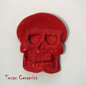 Ceramic Red Skull Tea Bag Holder  Small Spoon Rest Desk Accent Ring Dish