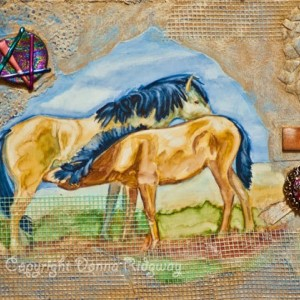 Horse art collage 11X7.75 vintage jewelry Donna Ridgway