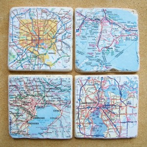 Custom Map Coasters - Set Of 4