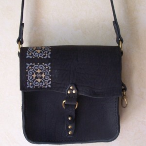 Fancy Black and Bronze Leather  Handbag / Purse Very Dressy. long adjustable strap