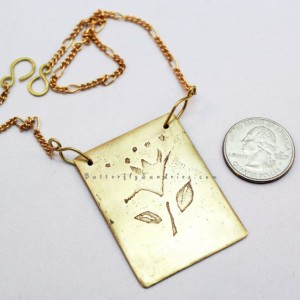 OOAK Handmade Etched Brass Flower Necklace