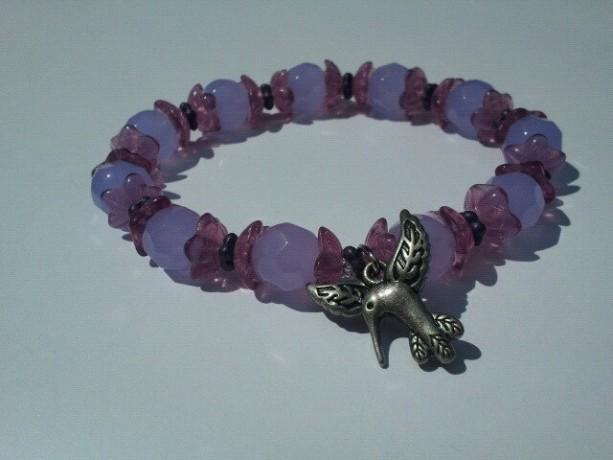 Purple and lavender hummingbird stretch bracelet, spring jewelry, bird charm bracelet, free gift box, lilac flower bracelet, gift for her