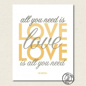The Beatles All You Need Is Love Gray and Gold 8x10 Art Print