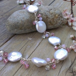 White Coin Pearl & Shades of Pink Swarovski Charm Bracelet
