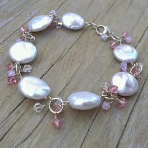 White Coin Pearl & Shades of Pink Swarovski Charm Bracelet