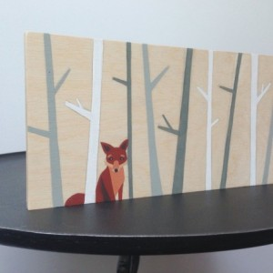 Hand Painted Woodland Fox Art, Woodland Nursery, Woodland Decor, Fox Nursery Art, Nursery Decor, Fox Painting, Woodland Critter Art