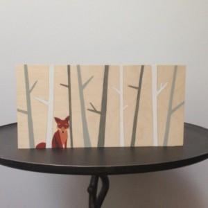 Hand Painted Woodland Fox Art, Woodland Nursery, Woodland Decor, Fox Nursery Art, Nursery Decor, Fox Painting, Woodland Critter Art