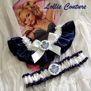 Maple Leaf Wedding Garters Custom Theme Sports Bridal Shower Gift Set
