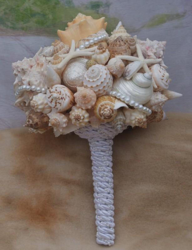 Bouquet Boutonniere Set Bridesmaid Seashell Beach Destination Seaside