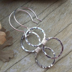 Loop-de-Loop Wrapped Circle Duo - Hammered Sterling Earrings with Sterling Wire Wrap