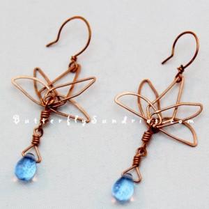 OOAK Handmade Copper Wire Lotus Earrings with Glass Drops