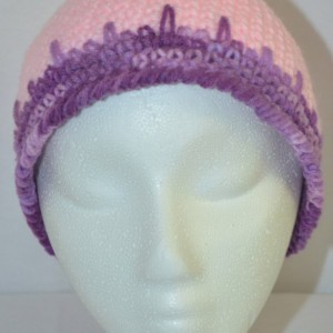 Handmade Pink and Purple Varigated Crochet Beanie , Woman / Teen / Tween Beanie , Pink / Purple Beanie   b102