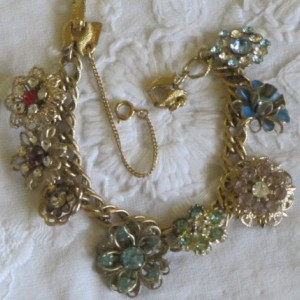 Rhinestone Flower Charm Bracelet with MONET Base--OOAK Eco-Friendly Upcycled Artisan Assemblage